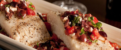 Chef JJ's Roasted Halibut with Greek Relish