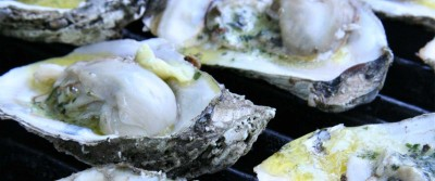 Grilled Oysters with Banner Butter on the Big Green Egg