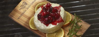 Planked Smoked Brie with Cranberry Relish on the Big Green Egg