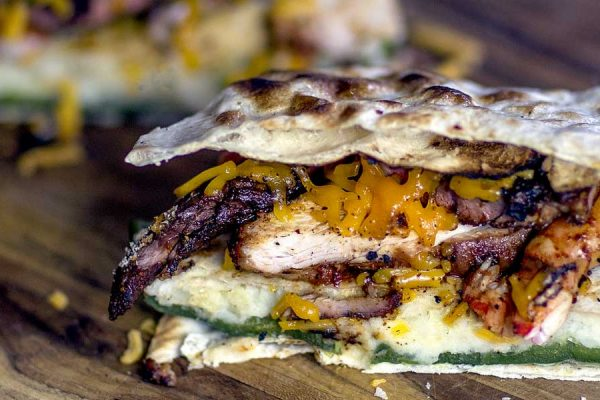 Quesadilla Shrimp and Pork grilled on the Big Green Egg